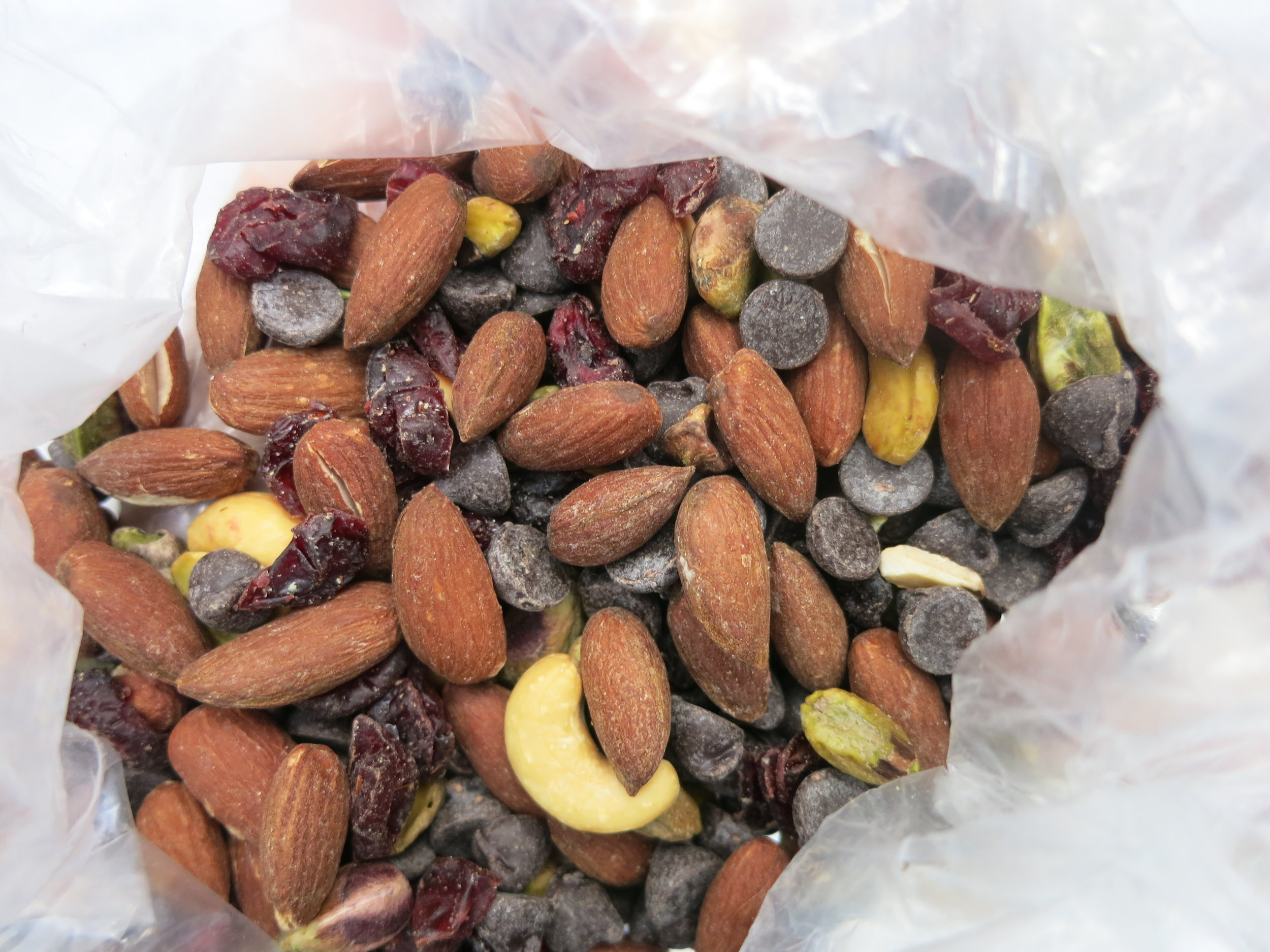 Will loves his trailmix so much he decided to take a picture of the inside of the bag.