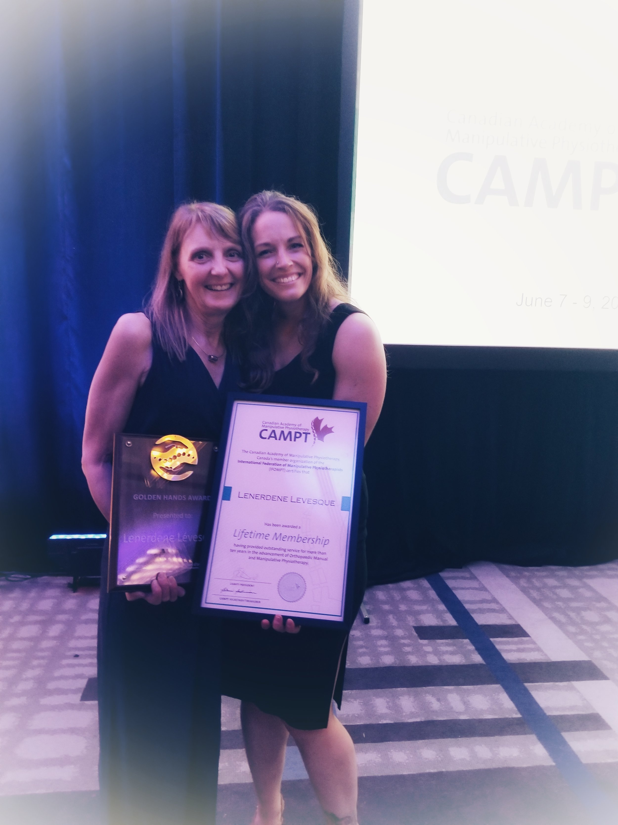Lenerdene received the Golden Hands Award and a Lifetime membership to CAMPT in the same year.
