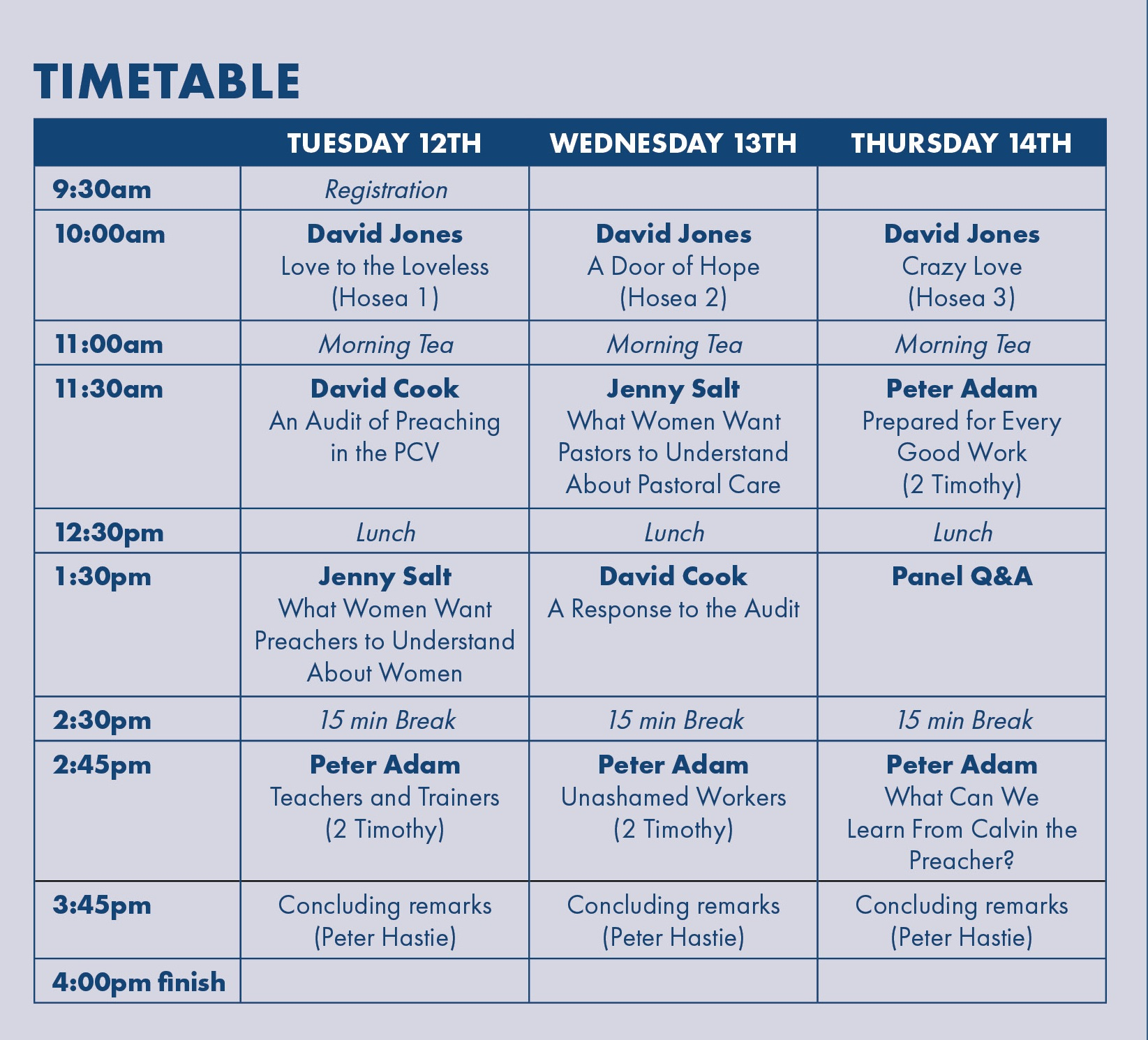 Having trouble viewing the timetable? Download    pdf here