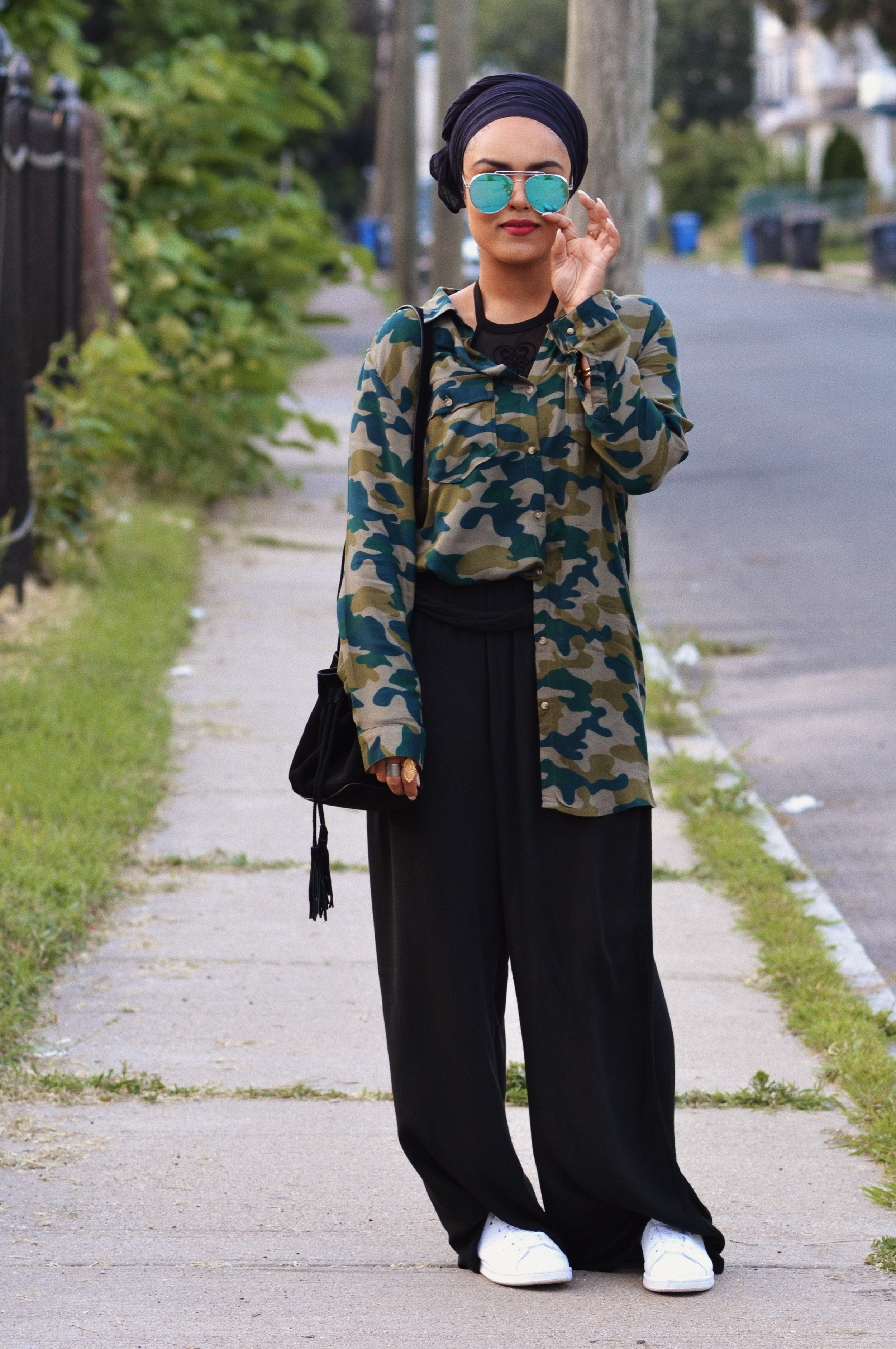 The LOOK – Camouflage Button Down (H&M) + Wide Leg Pants (Nordstrom Rack) + Body Suit (Rainbow) + Shoes (Stan Smith Adidas)