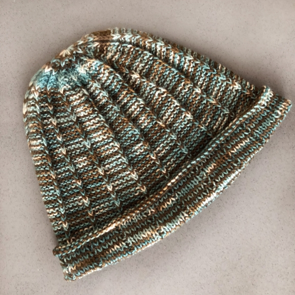 Allison Hat for Grown Ups  using one skein of Half & Half Sport in Chocolate & Gummybear