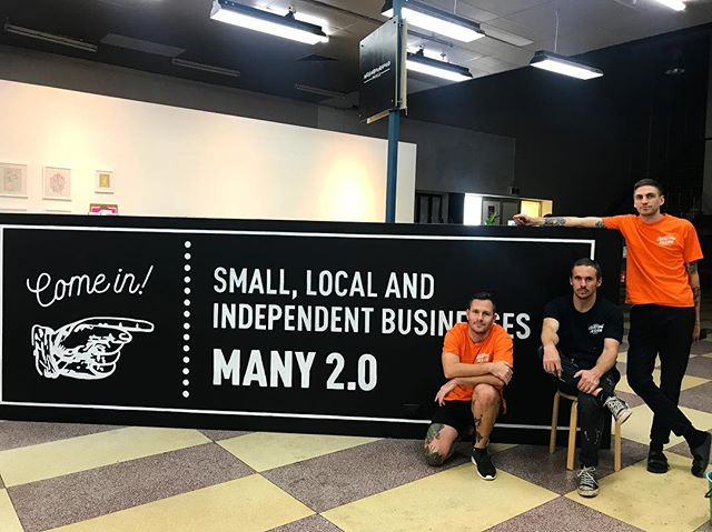 SMALL, LOCAL AND INDEPENDENT BUSINESSES, painted by a small, local and independent (sign-writing) business. Thank you @overtime_design for our new entry sign. 11/10 job, as per usual ⭐️ We're open again Thursday to Sunday, 10-5. Pop in! #many2 #manyprojects #supportlocal #handpainted #signwriting #overtimedesign