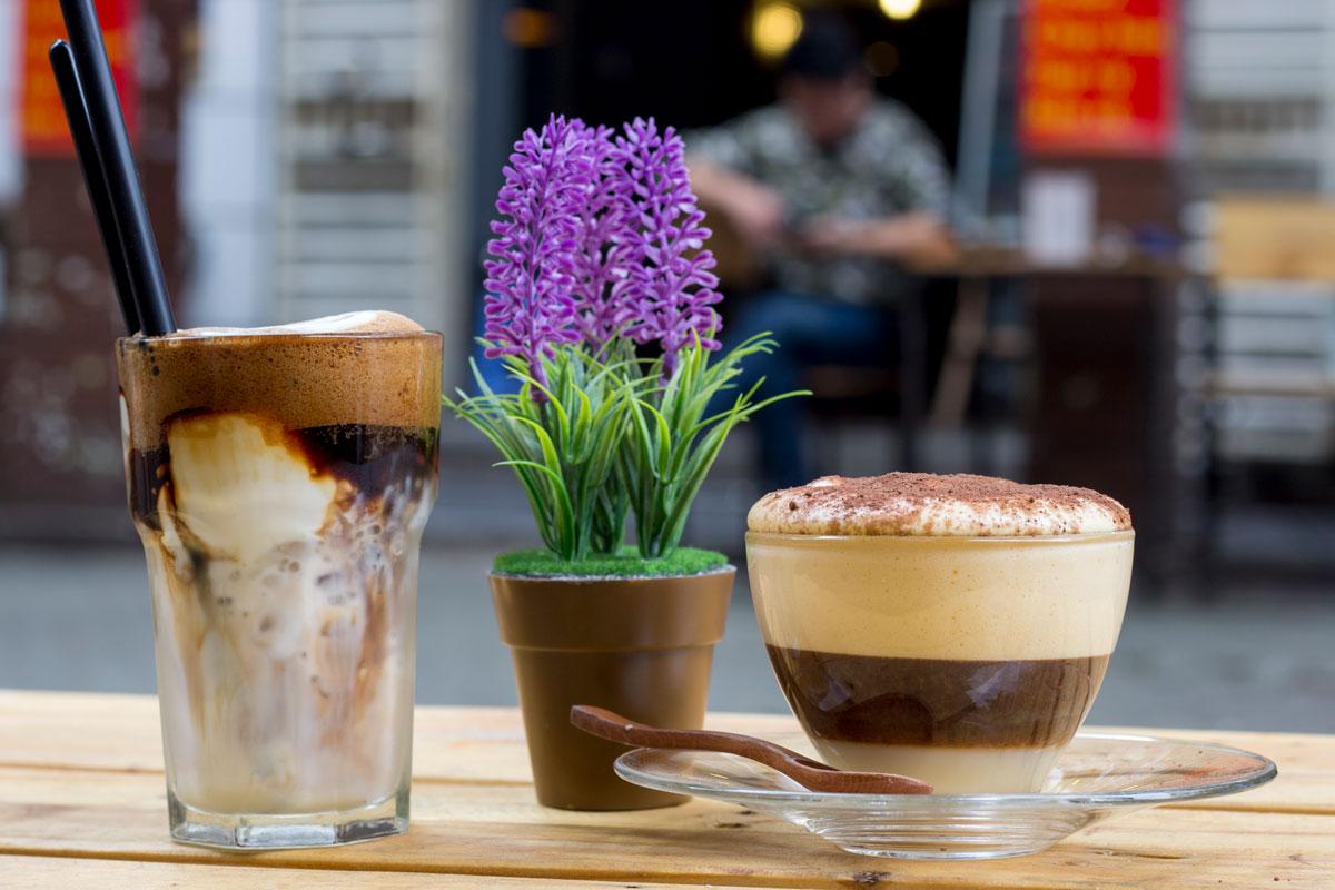 Yogurt and egg coffees from Cham Coffee Hanoi