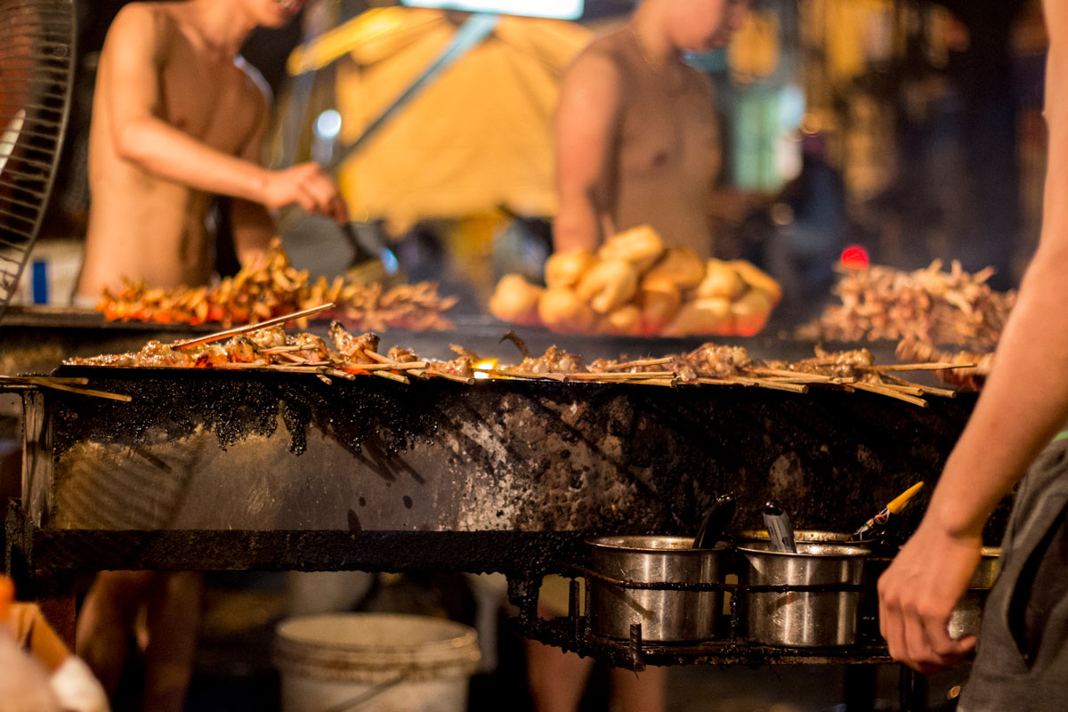 Chicken on the grill in Hanoi
