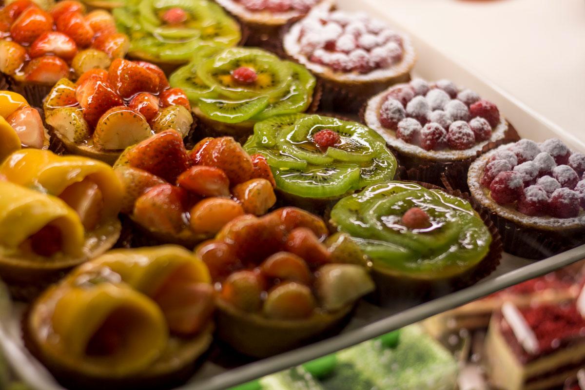 Fruit tarts on display