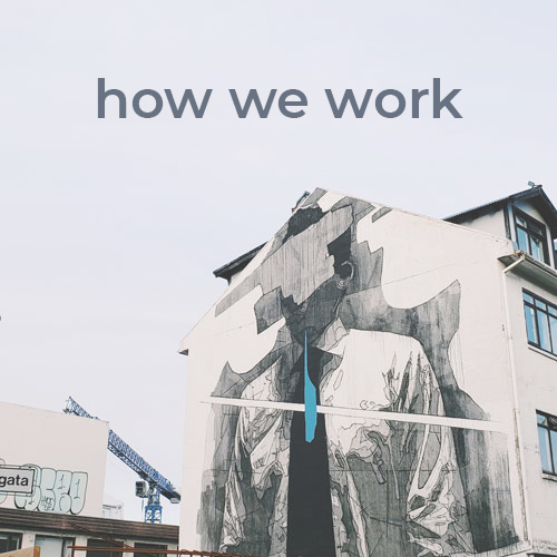 In Reykjavik, Iceland, the Go Squab team photographs a building featuring graffiti of a man in dress shirt and tie.