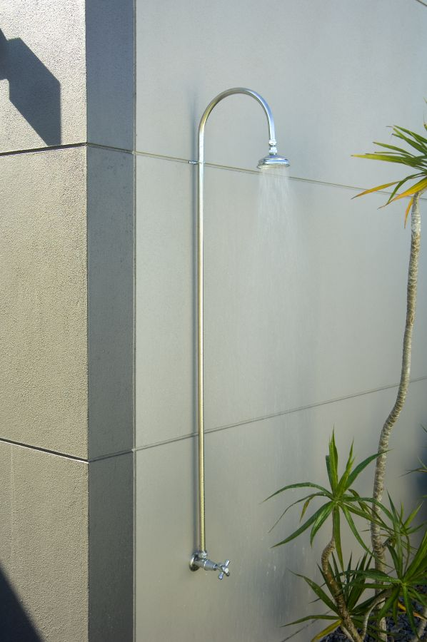 Bribie Wall Shower                         Prices vary dependant on tap options   $715 - $1089   The 316 Grade Stainless Steel Bribie enables you to upgrade your standard garden tap to something more special and useful. This 'retro fit solution' is a great way to install an outdoor shower as you can replace an existing garden tap (instead of fitting a new one) with a Bribie. The angle of the shower head is easily adjusted due to the metal ball joint design. The tubing is fully adjustable so your shower can be at your perfect height and taps can be the exact width for your needs.