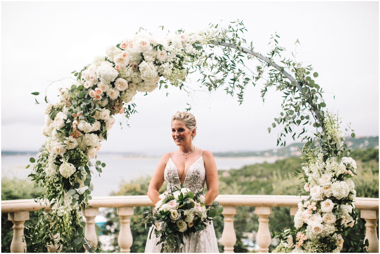 Stunning white floral wedding arch