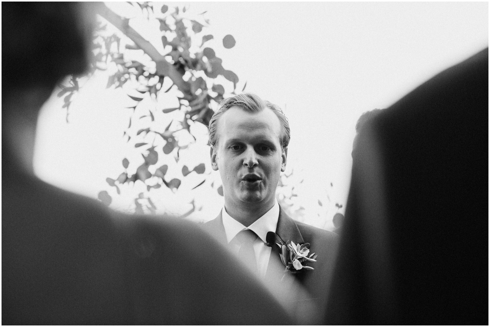 Groom during his wedding ceremony in Texas