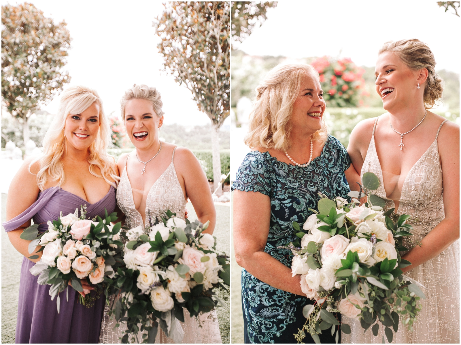 Bride with her mom and bridesmaid