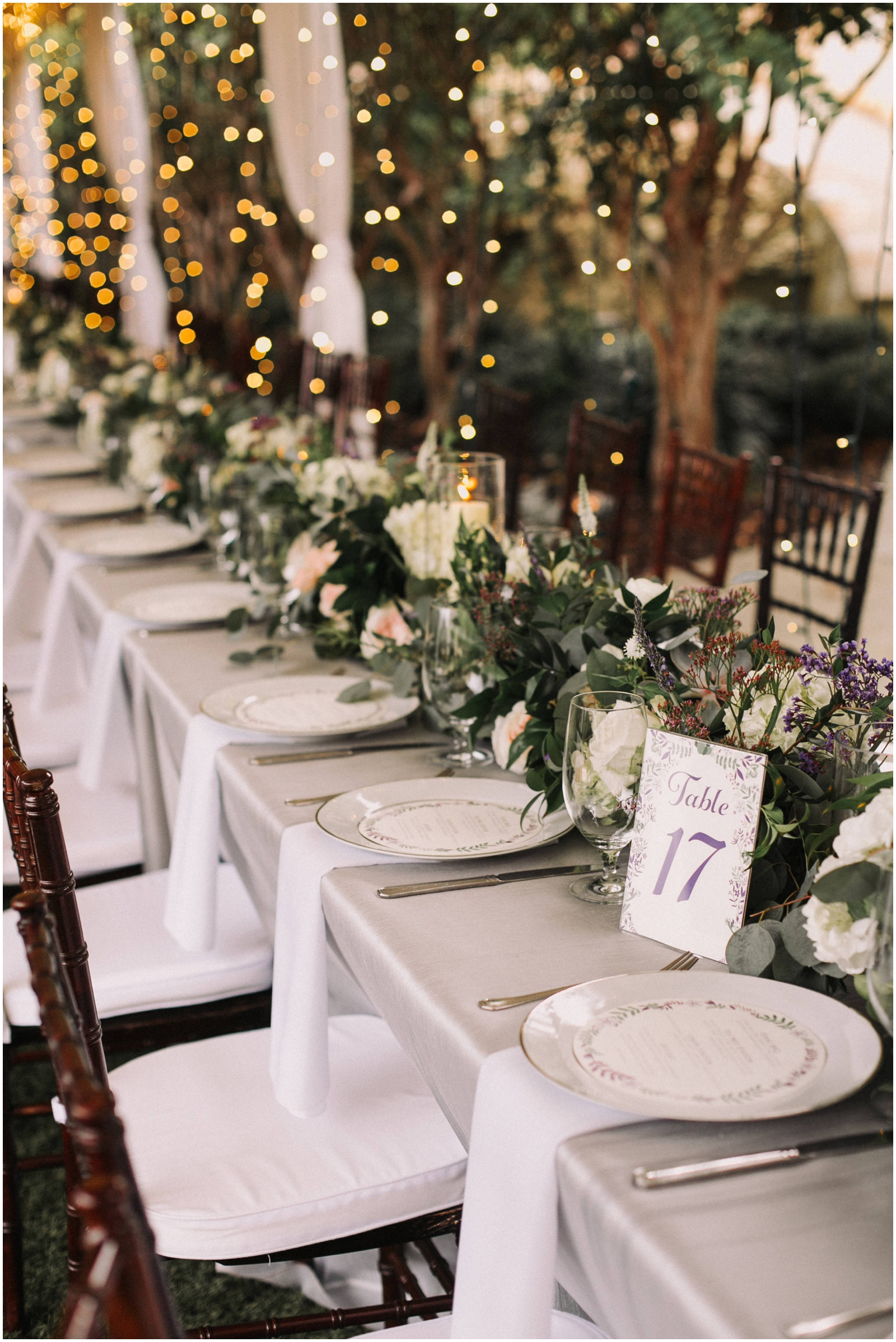 White floral and candle centerpieces