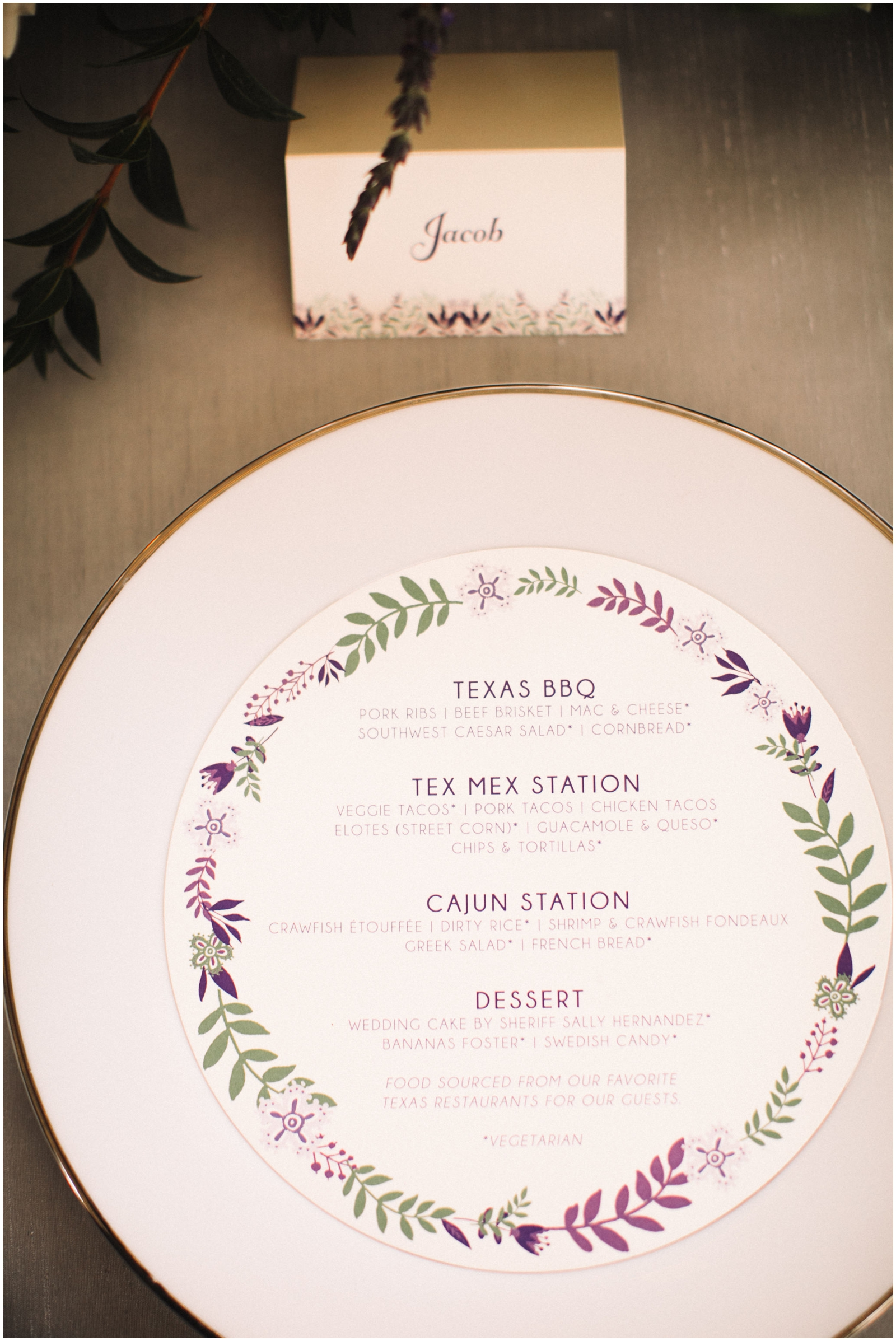 Menu for the Austin Wedding
