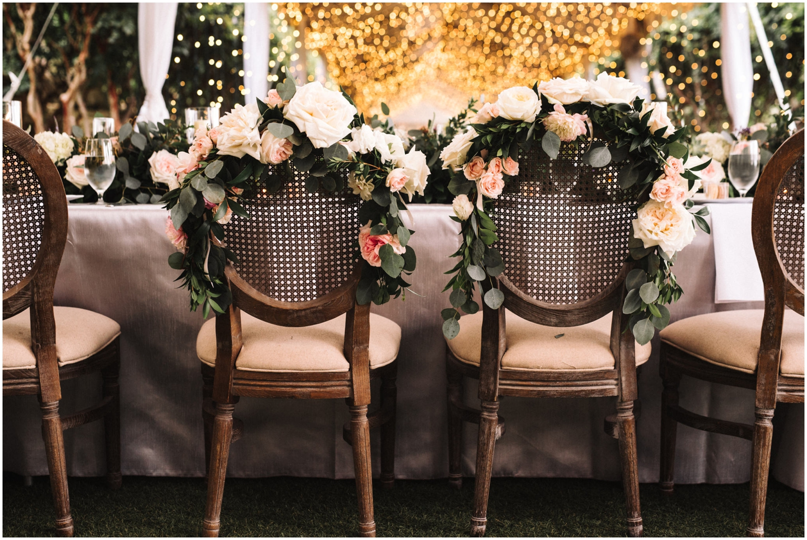 Floral decor on chairs