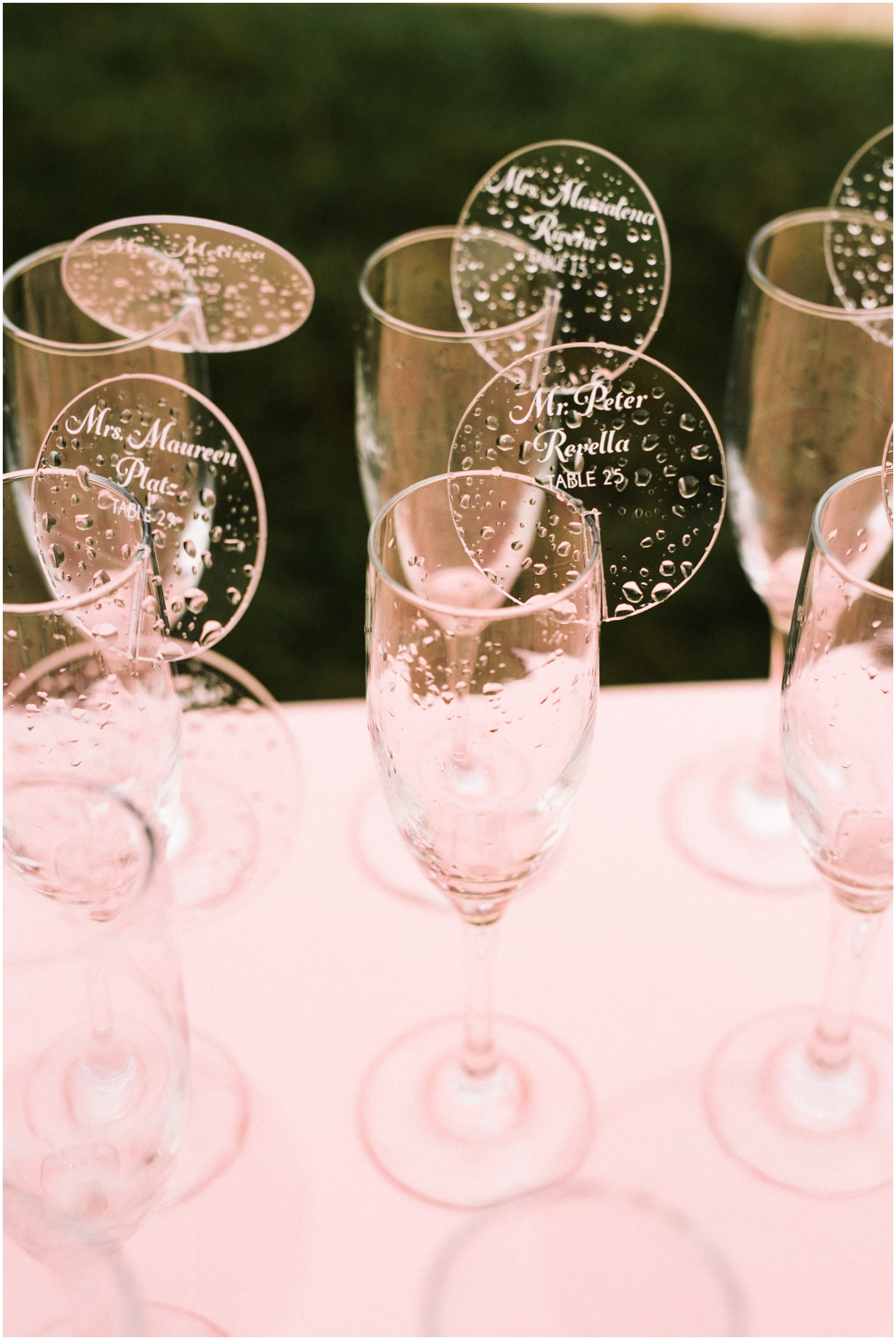 Champagne glasses with table signs