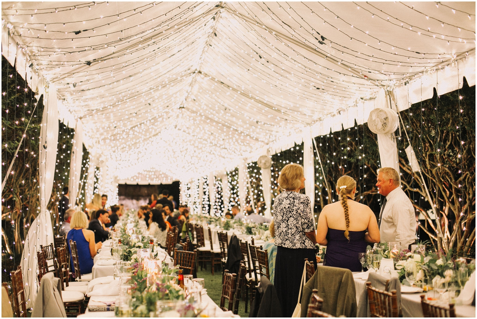 String lights tent for wedding reception