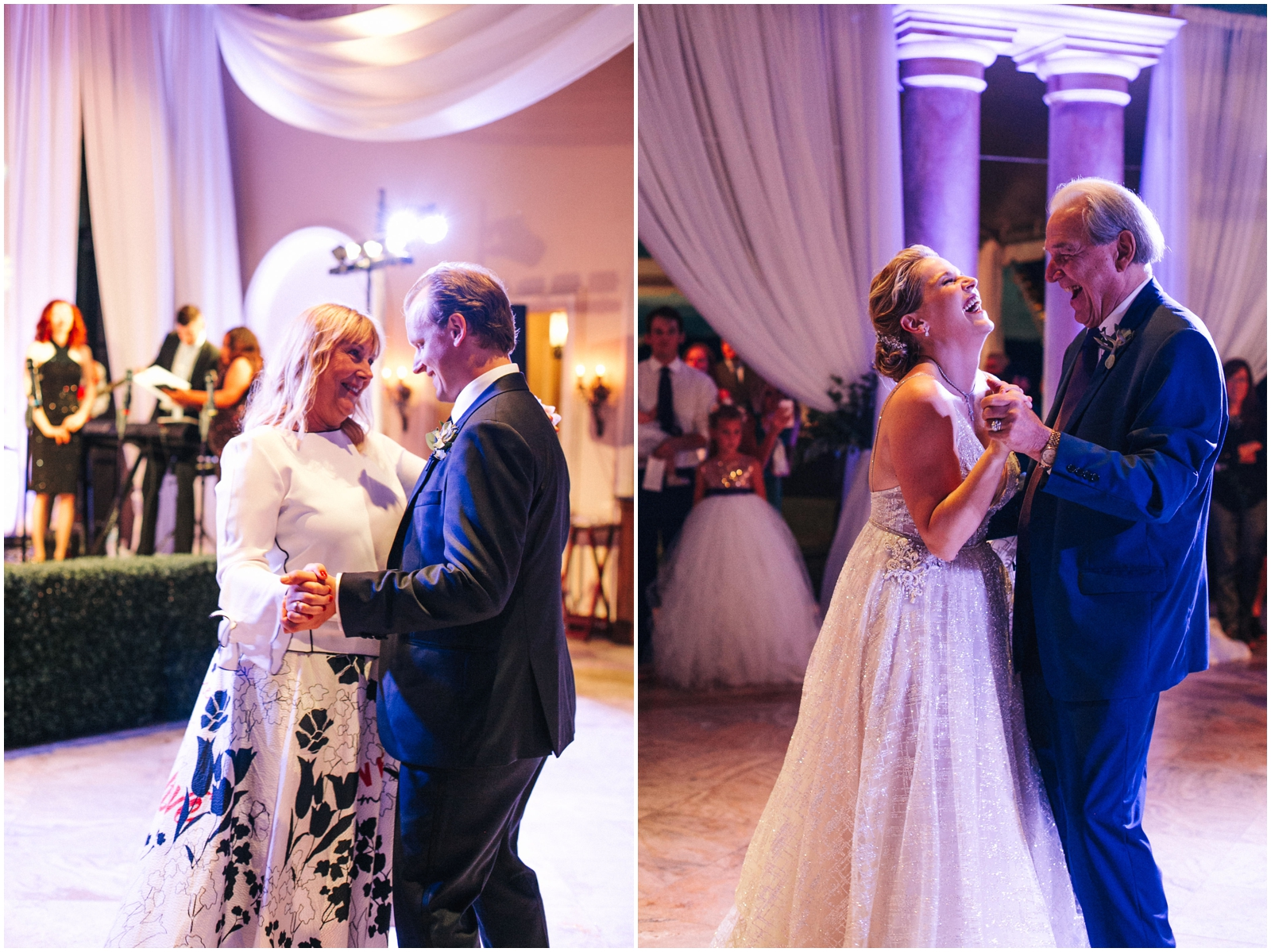 Bride and groom dancing with their parents
