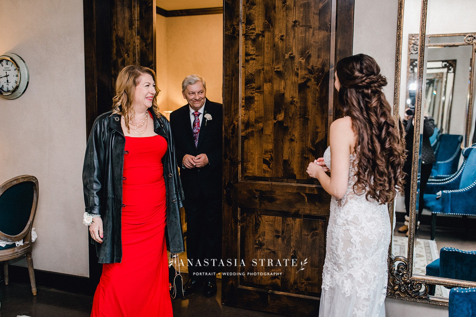 first look with the bride and her family