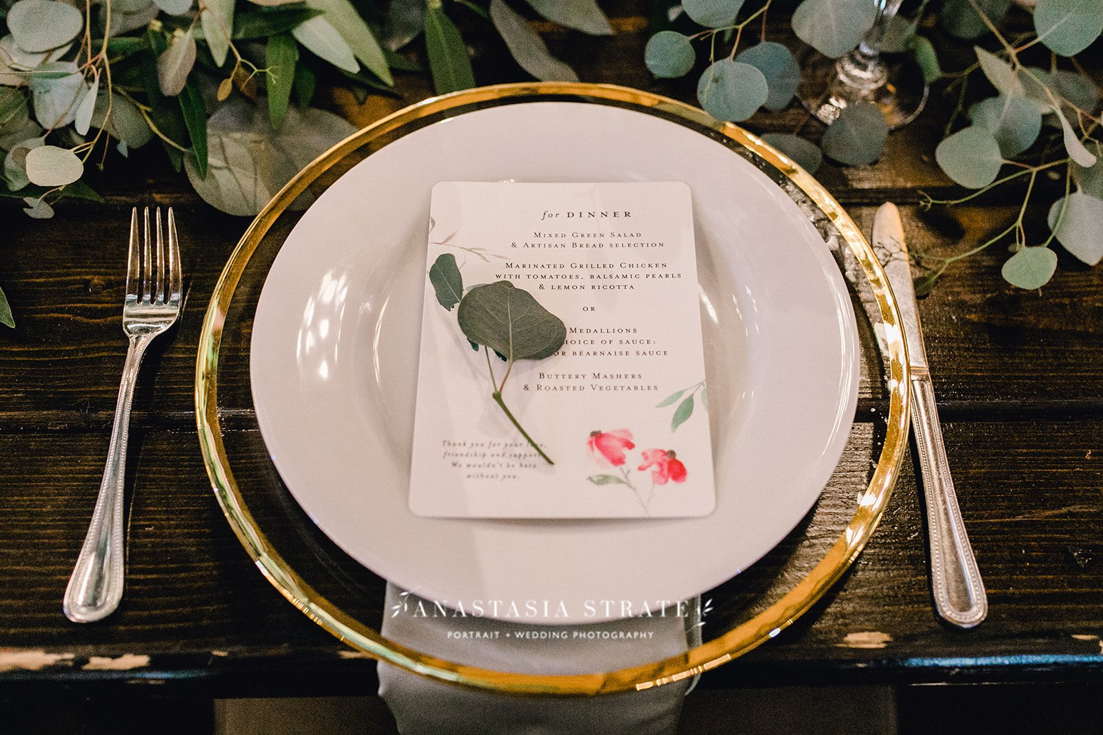 greenery and gold tablescape