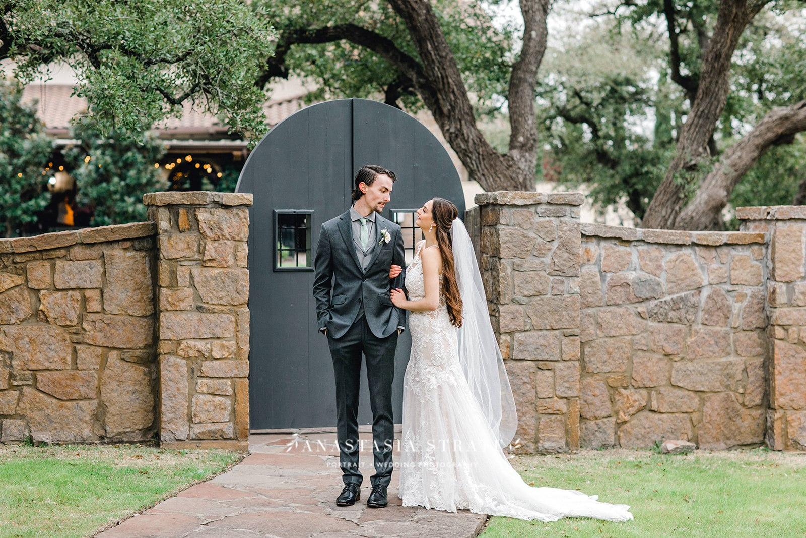 bride and groom at their Texas wedding