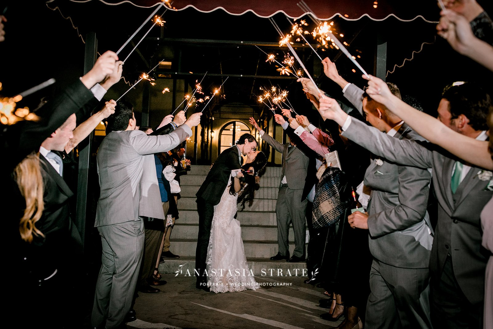 grand wedding exit with sparklers