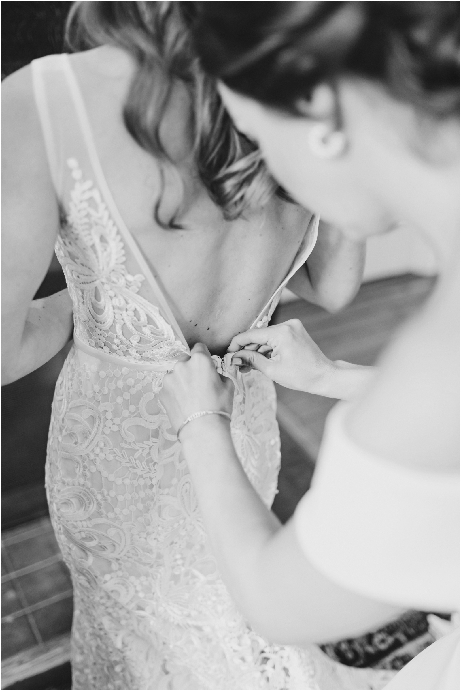 Bride getting ready for her wedding in Texas