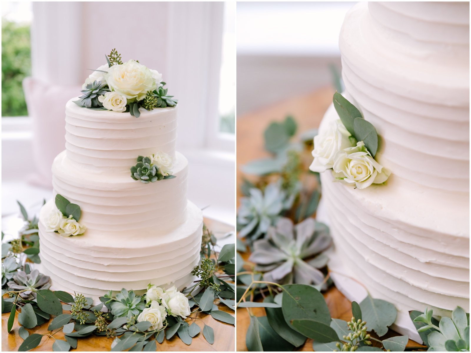White and greenery wedding cake