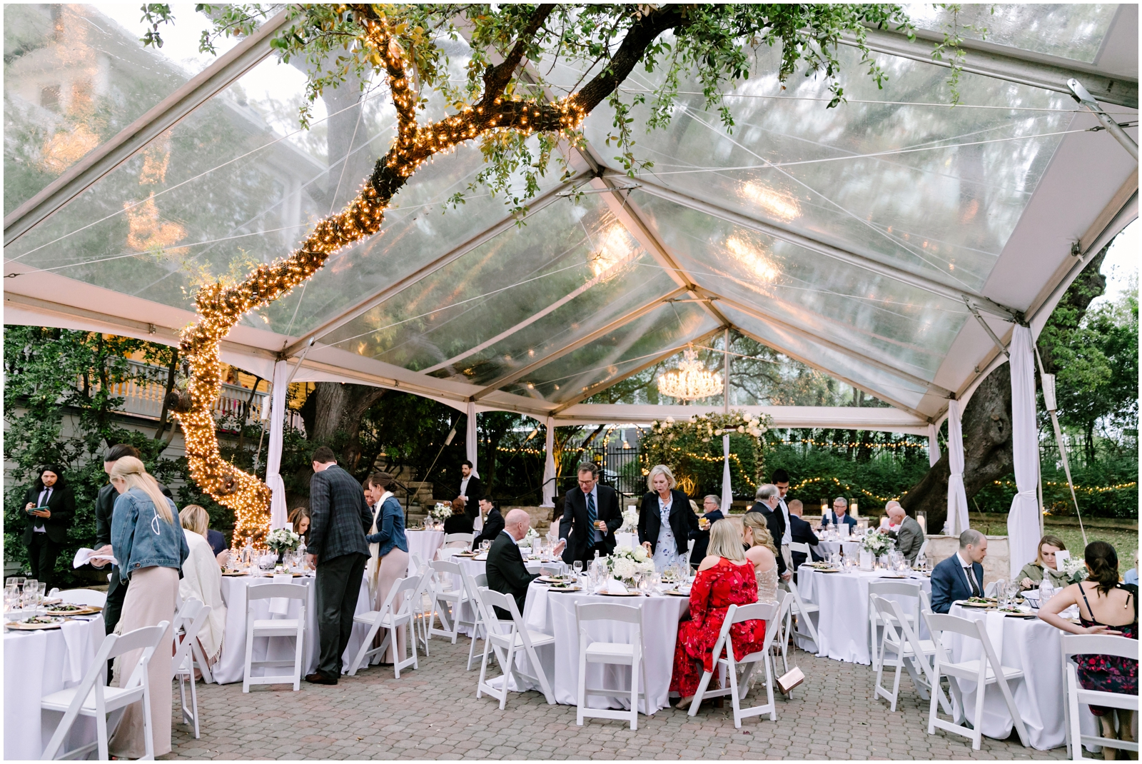 Tented garden wedding reception