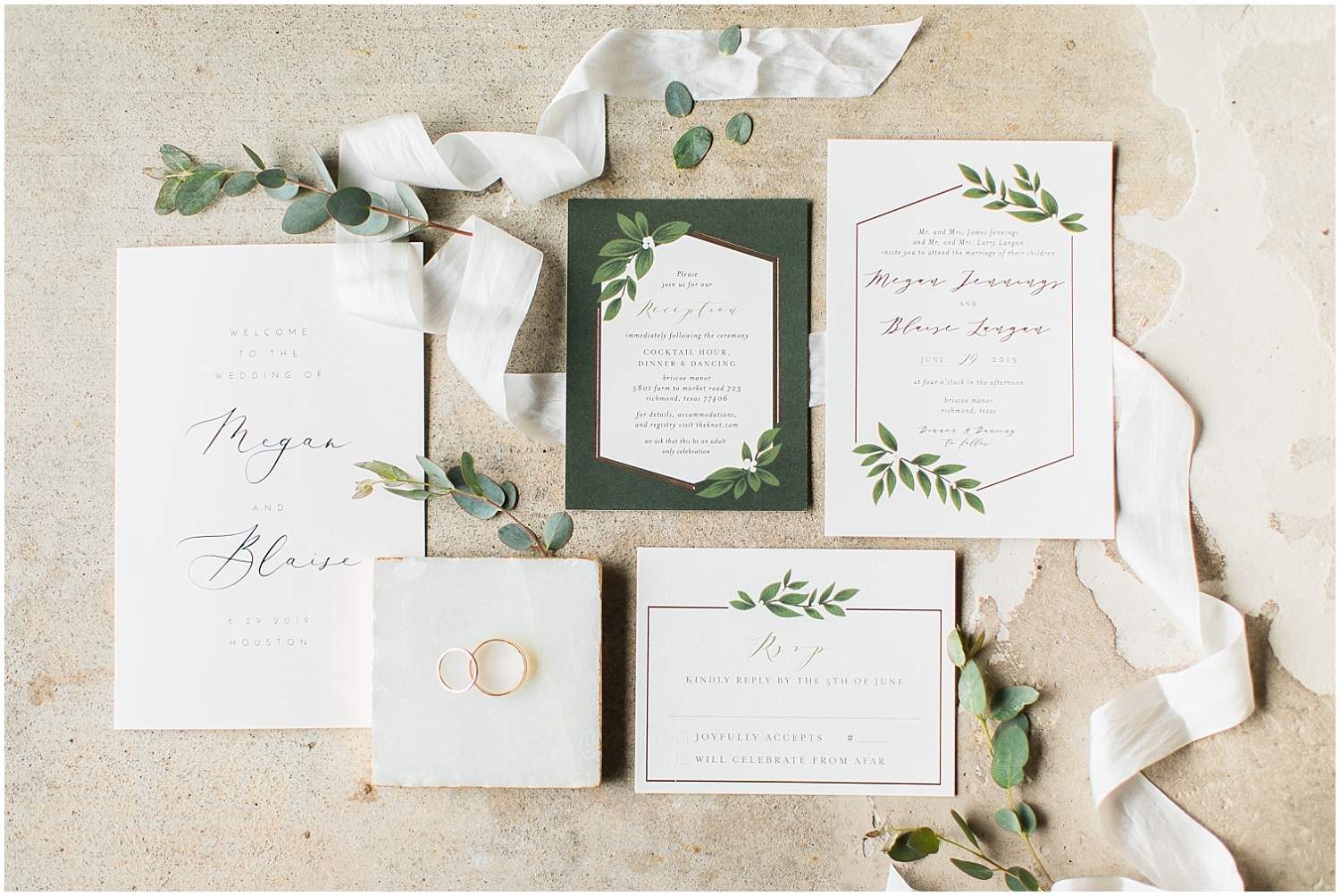 Elegant greenery wedding invitation