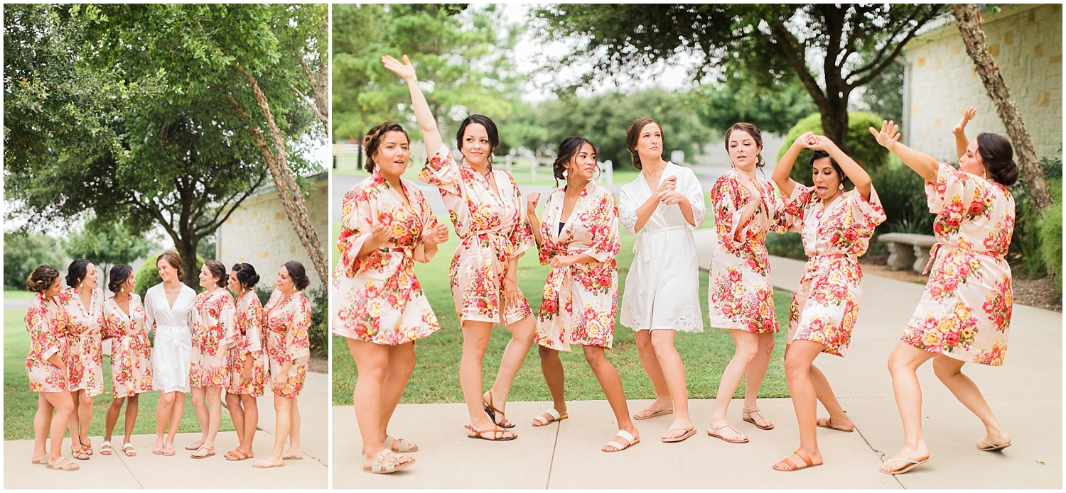 Bride and bridesmaids wearing floral robes before the Houston Wedding