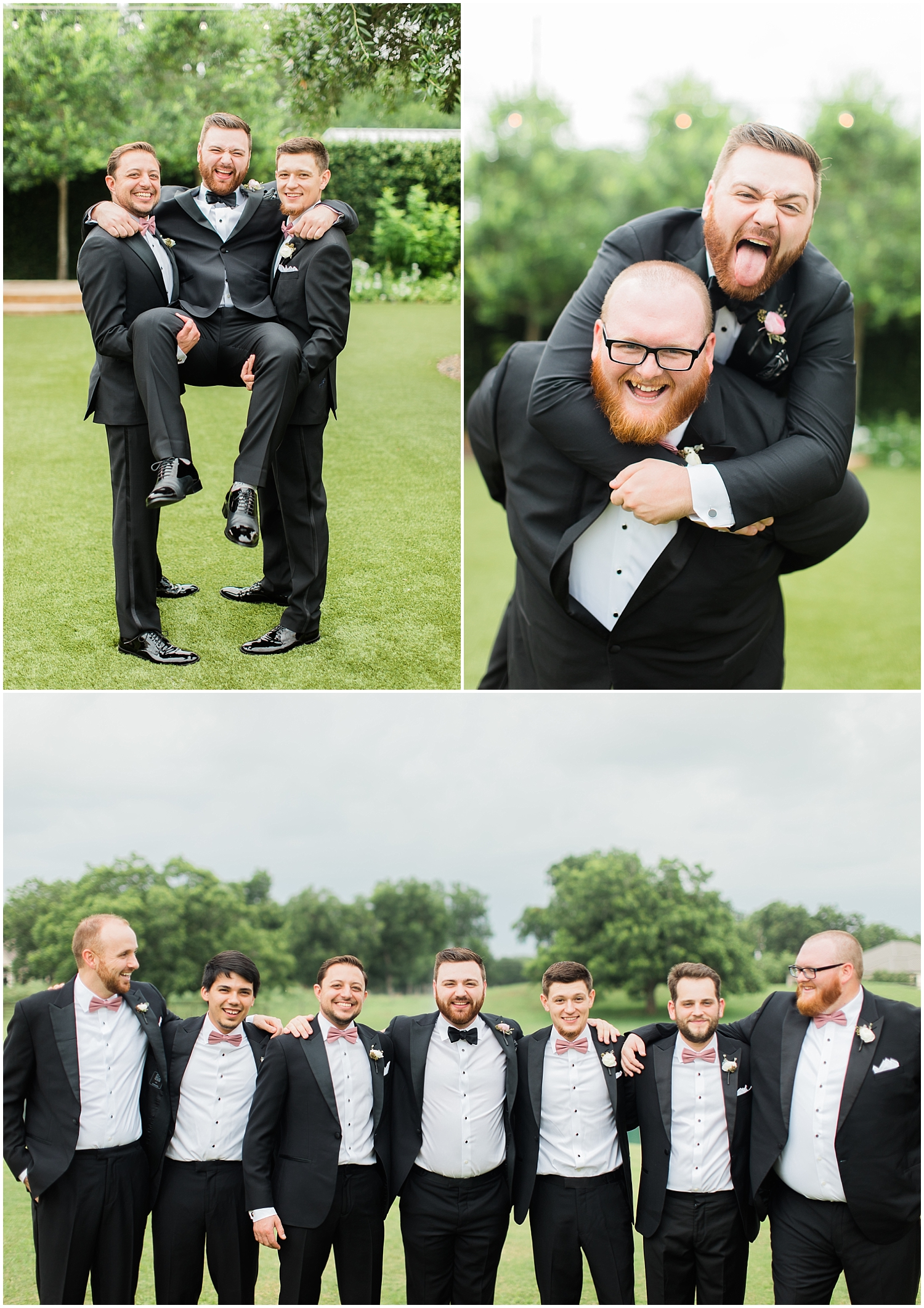 Groom and groomsmen being silly before the wedding