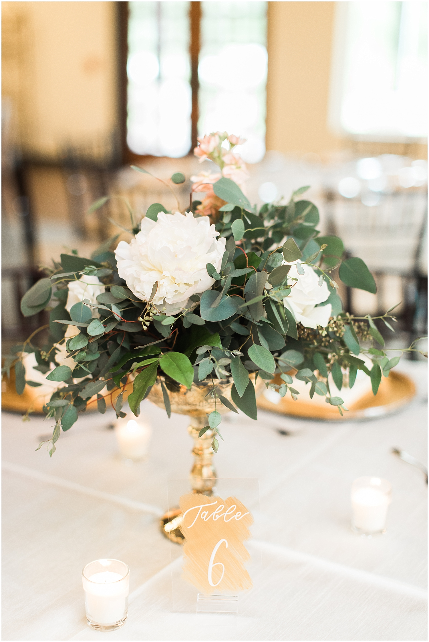 gold and floral centerpiece