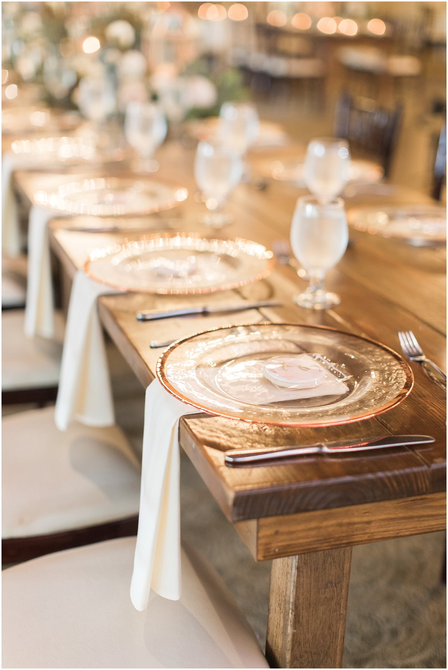 gold and greenery table set for Houston wedding