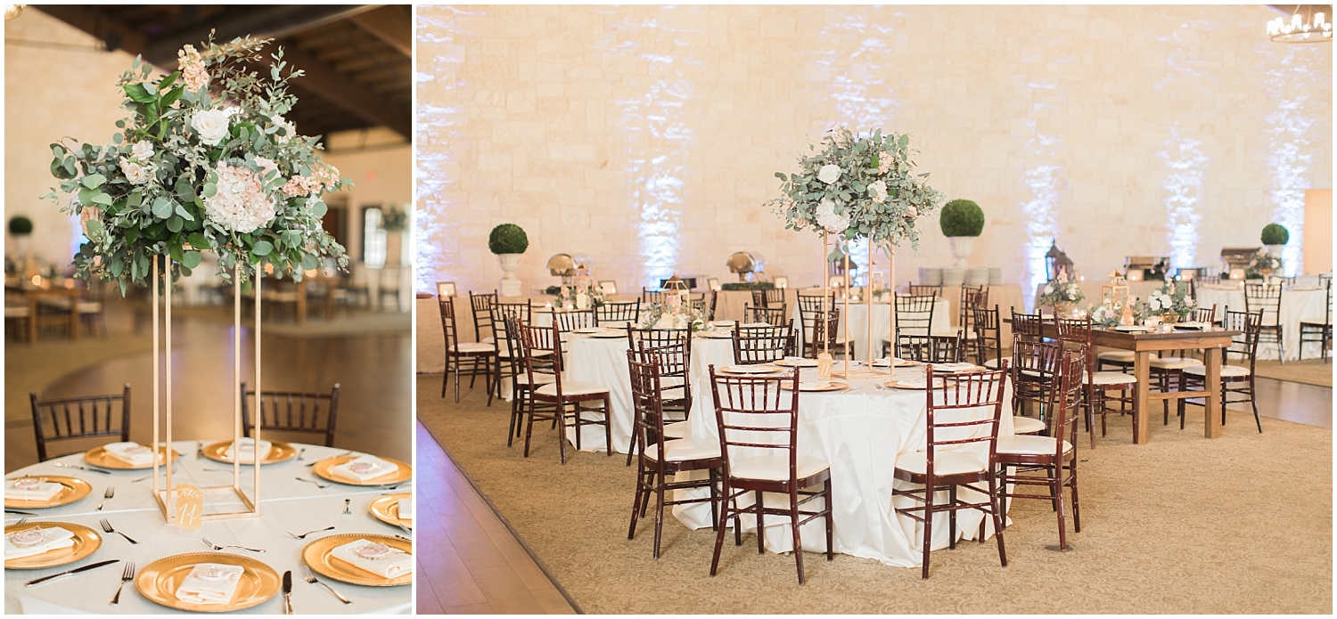 Gold and greenery wedding reception