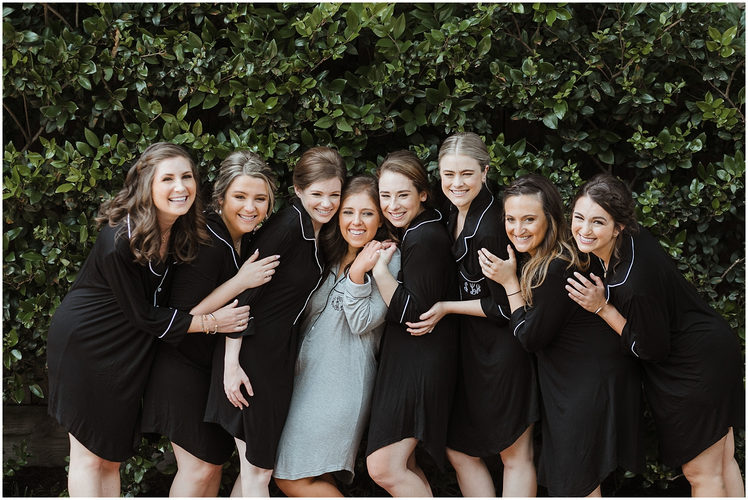 bride and her bridesmaids before the Houston wedding