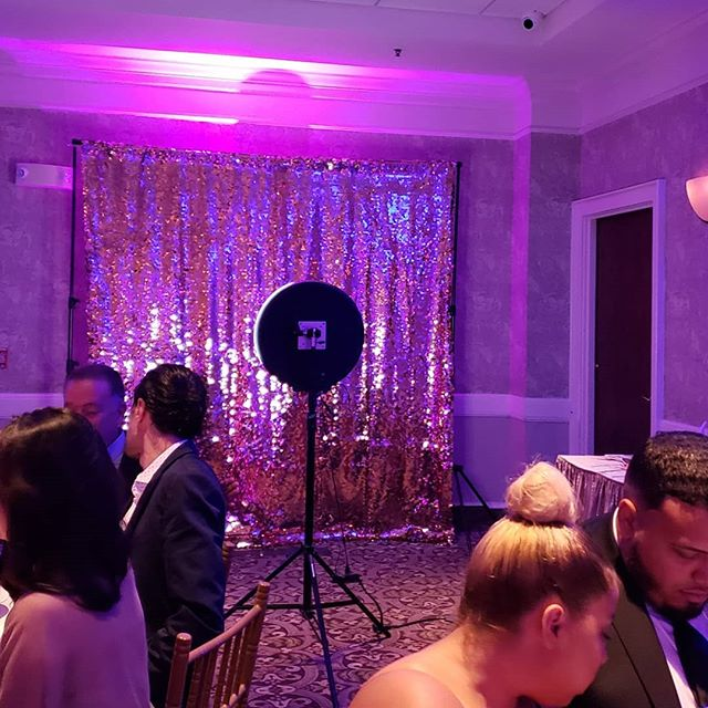 New Rose Gold Sequin backdrop in action! Big thanks to Dario and Chelsea for having us celebrate with you guys last night!
