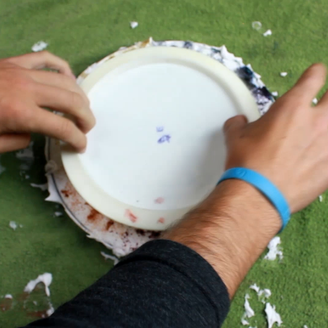 Once you're happy with the dye on the shaving cream bead place your disc