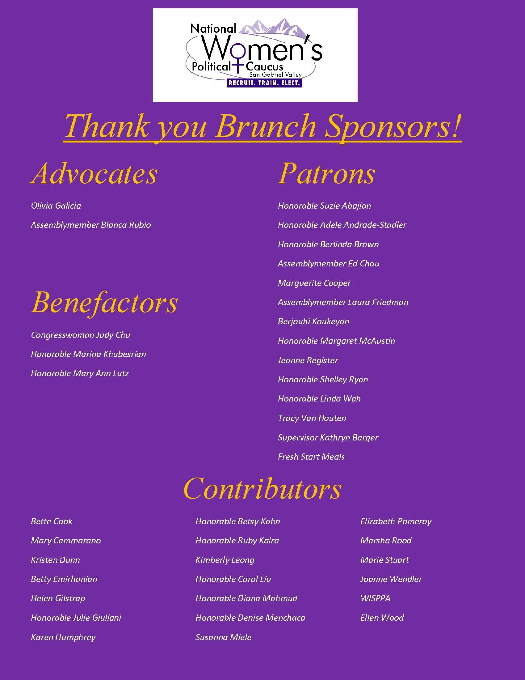 - Thank you to our Generous Sponsors!