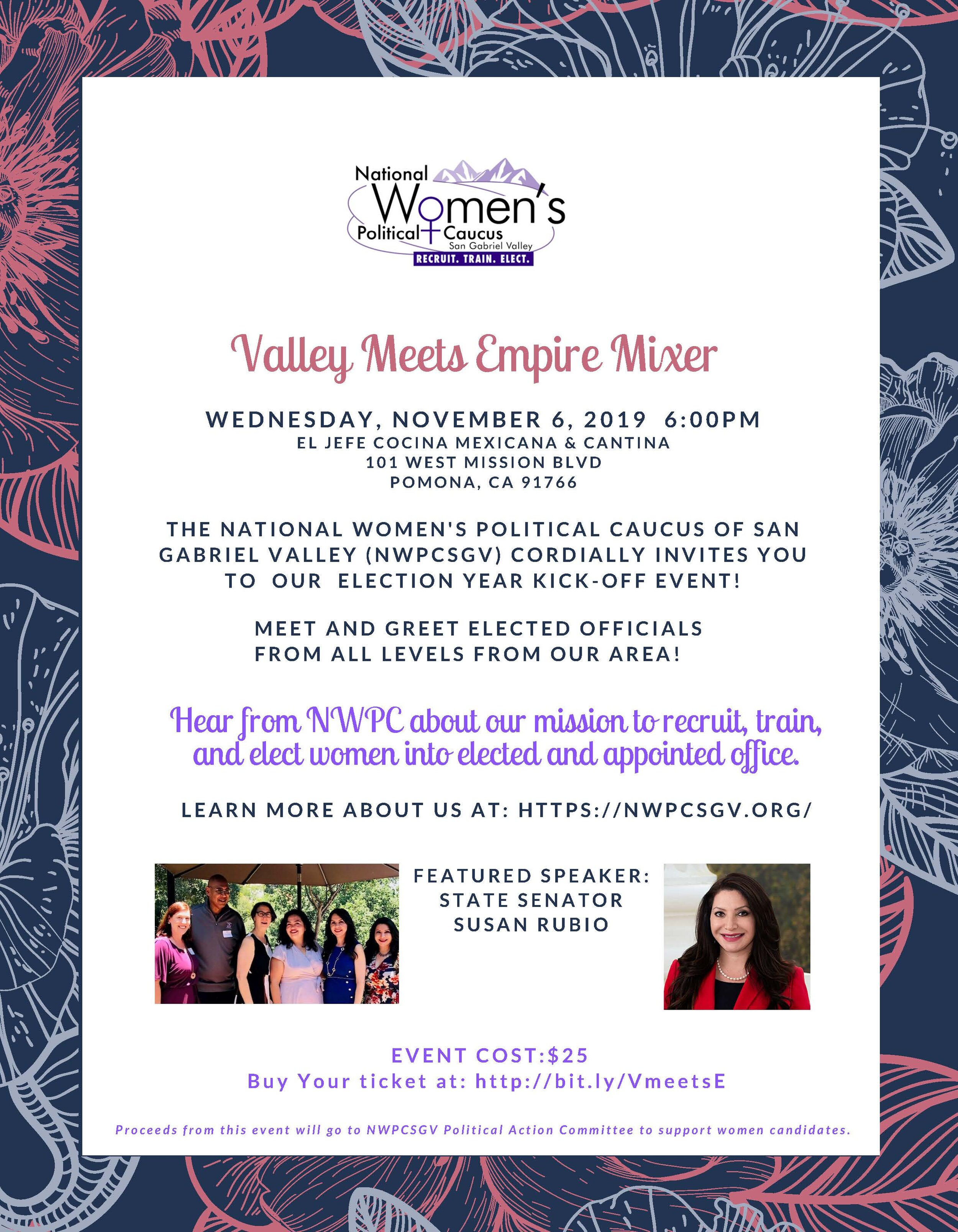 Valley Meets Empire Mixer / Fundraiser - Join us as we meet and greet women from San Gabriel Valley and the Inland Empire!