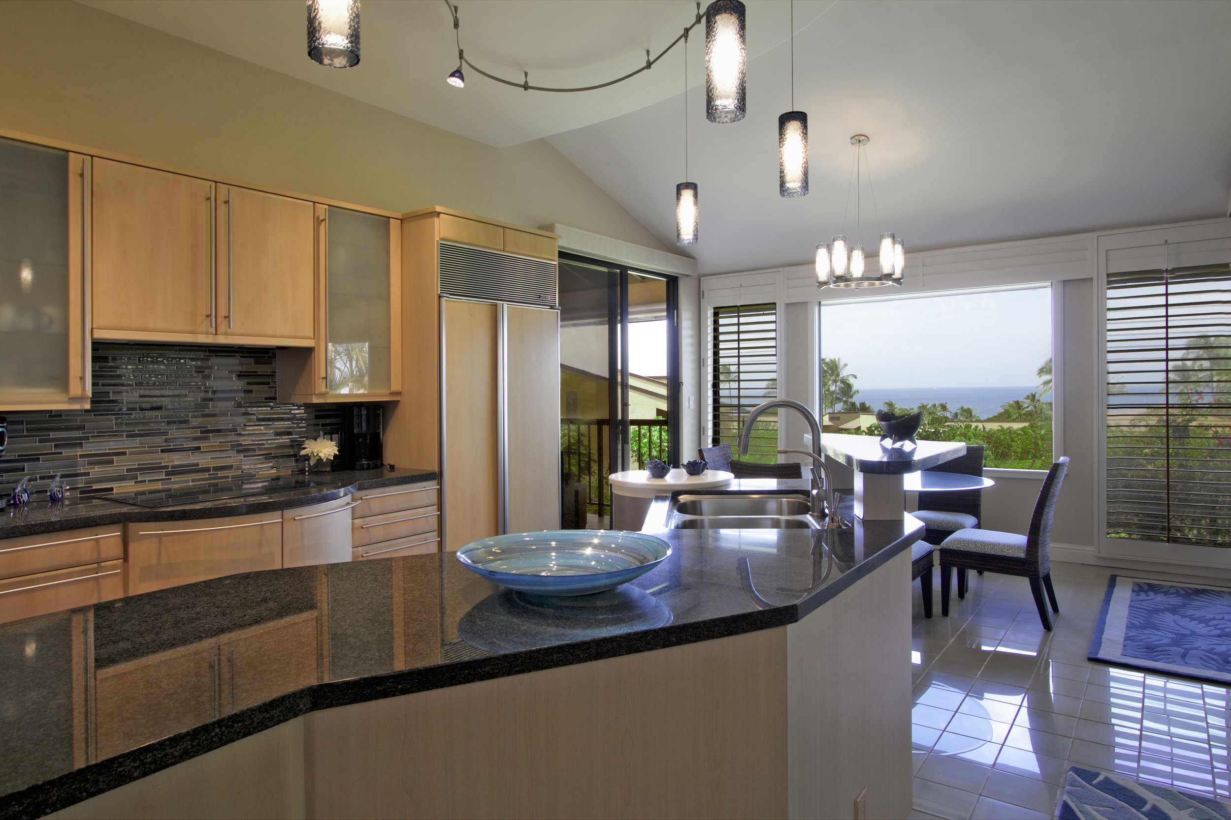 A fully-stocked kitchen, with a view
