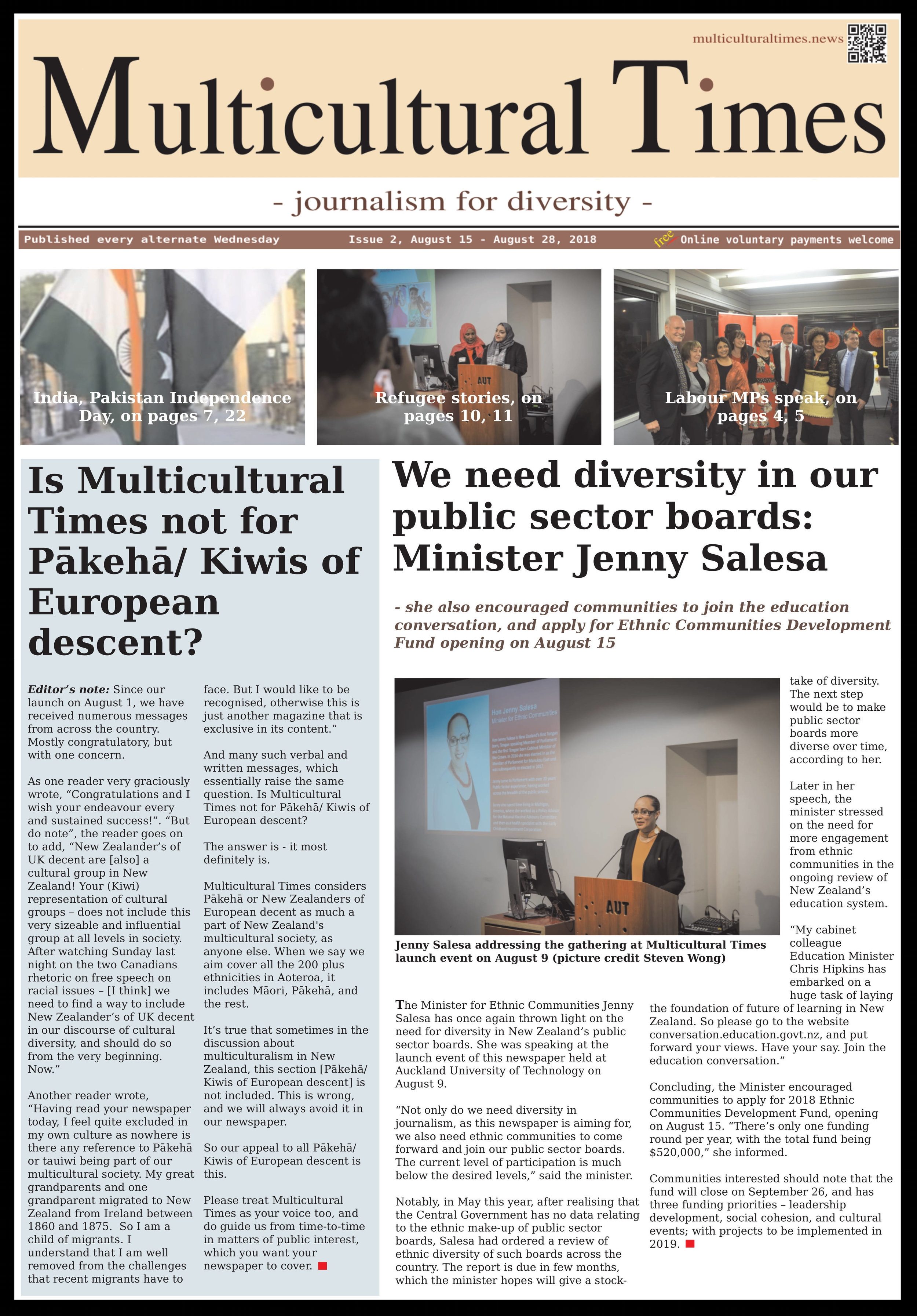 Click on the picture to download and read the pdf version of the second issue of Multicultural Times