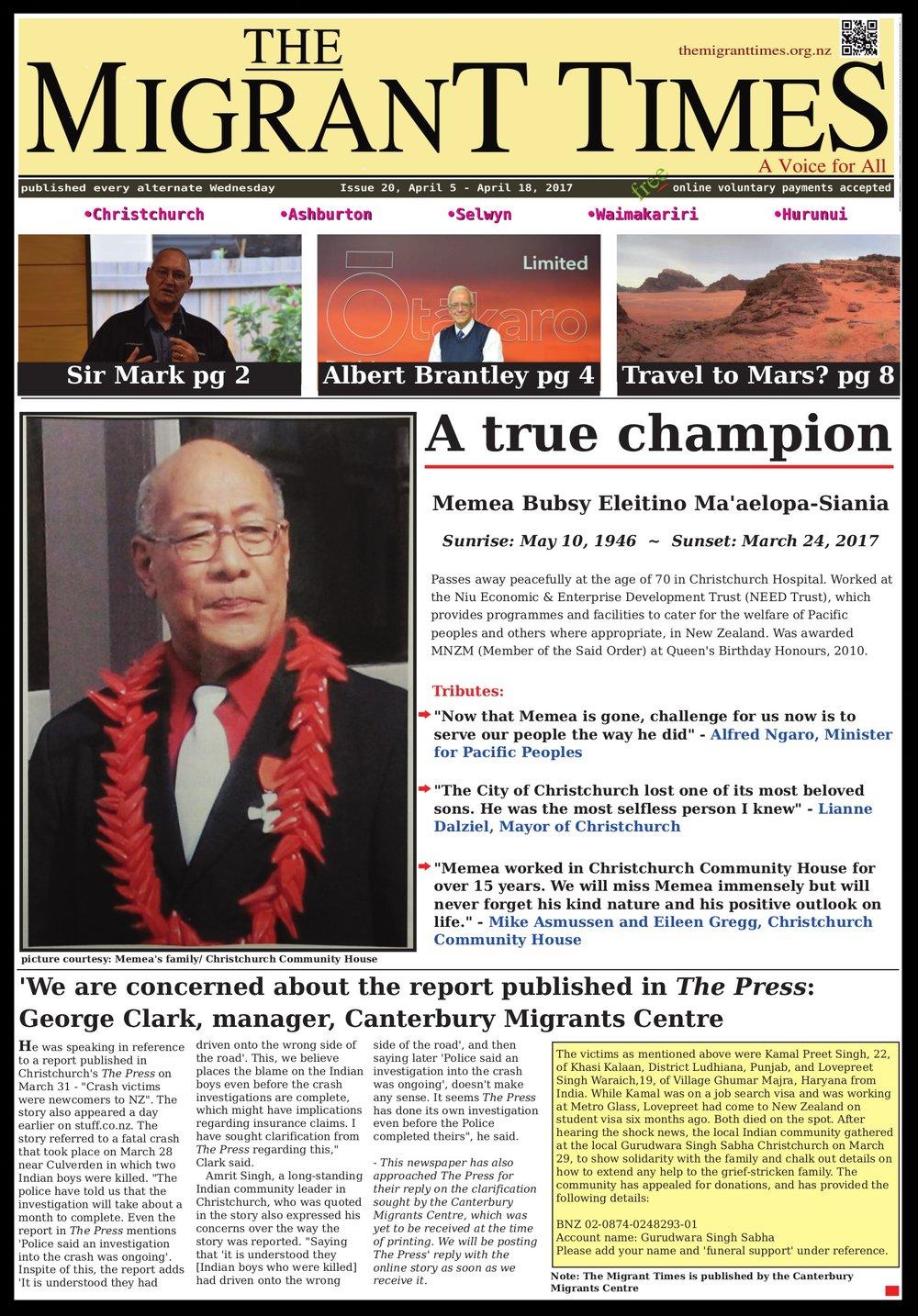Issue 20, April 5 - April 18, 2017