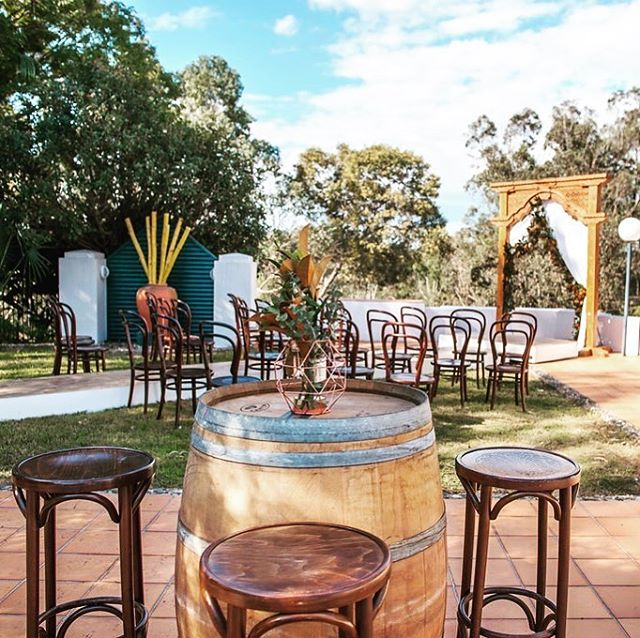 Besotted with Bentwoods! These Bentwood stools look amazing paired with our wine barrels! Furniture by @epicempire  Styling by @styledeventsqld . . . . . #bentwoodchairs #stools #winebarrel #weddingceremony #outdoorceremony #brisbaneevents #brisbanehire #furniturehire #brisbanewedding #receptionideas #outdoordining #outdoorwedding #weddingreception #chairs  #brisbaneeventhire #dreamywedding #tablescape #timberfurniture #whitelinens #magnolialeaves #thestyledgroup #visiondesigncreate