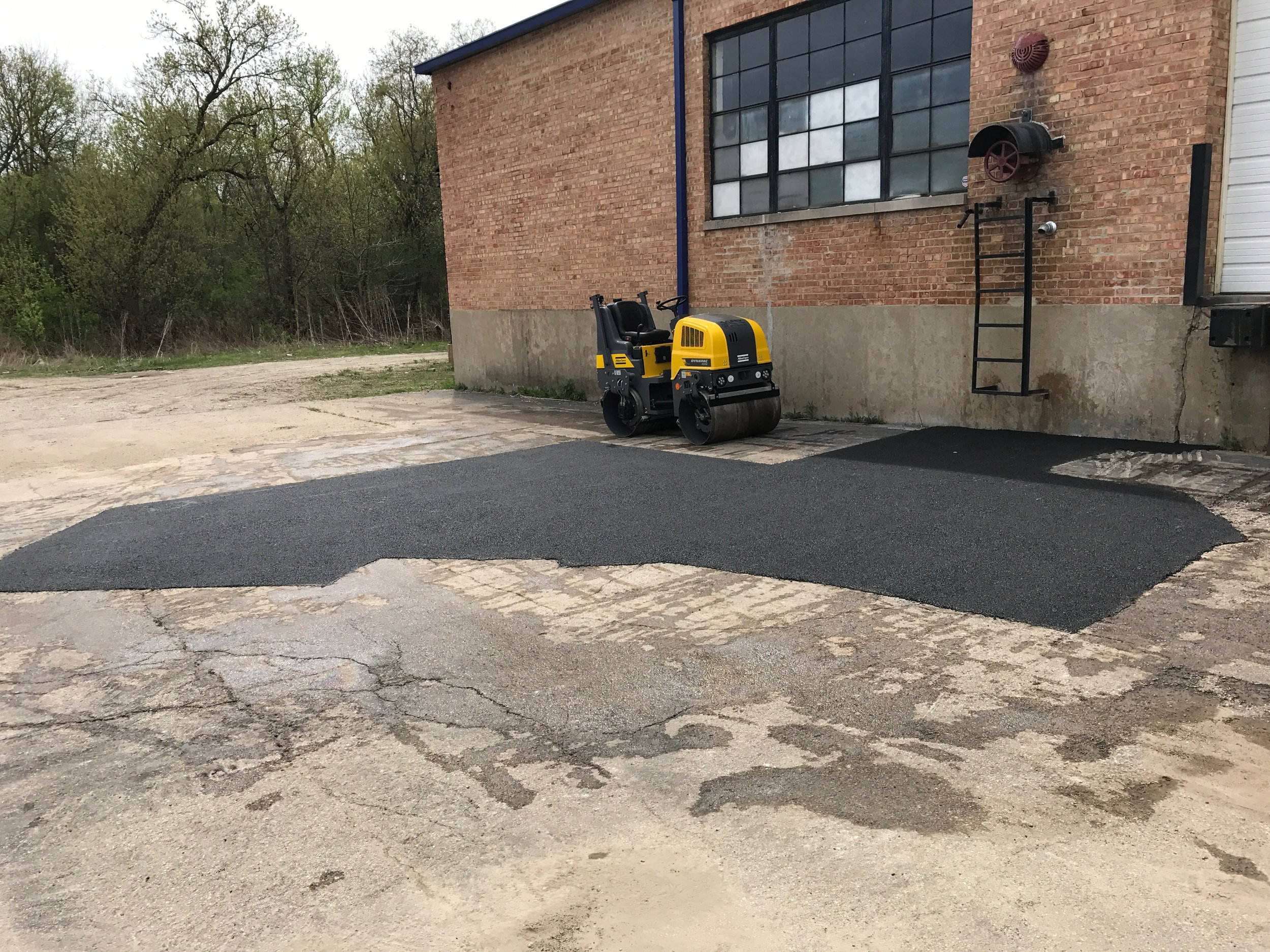 Parking lot patch work.