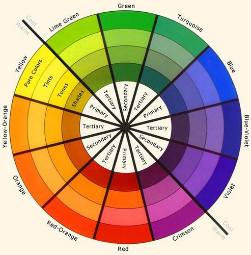 A colour wheel illustration primary, secondary and tertiary colours, as well the difference between pure colours, tints, tones and shades.