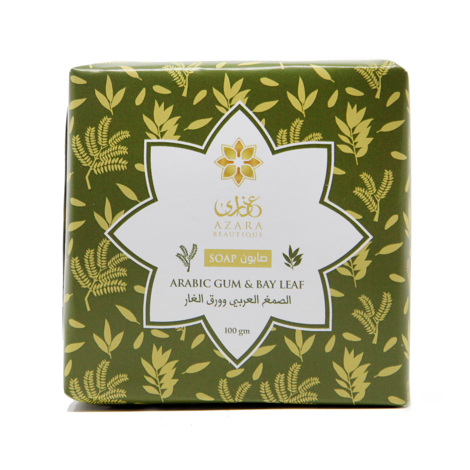 Azara Beautique's Arabic Gum & Bay Leaf Soap can be used for face, body, and hair. This particular formulation lightens scars and strengthens hair.