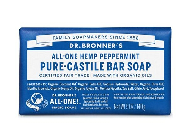Dr Bronner's Pure Castile Bar Soap comes in a number of different scents. They are suitable for use on face, body, and hair.
