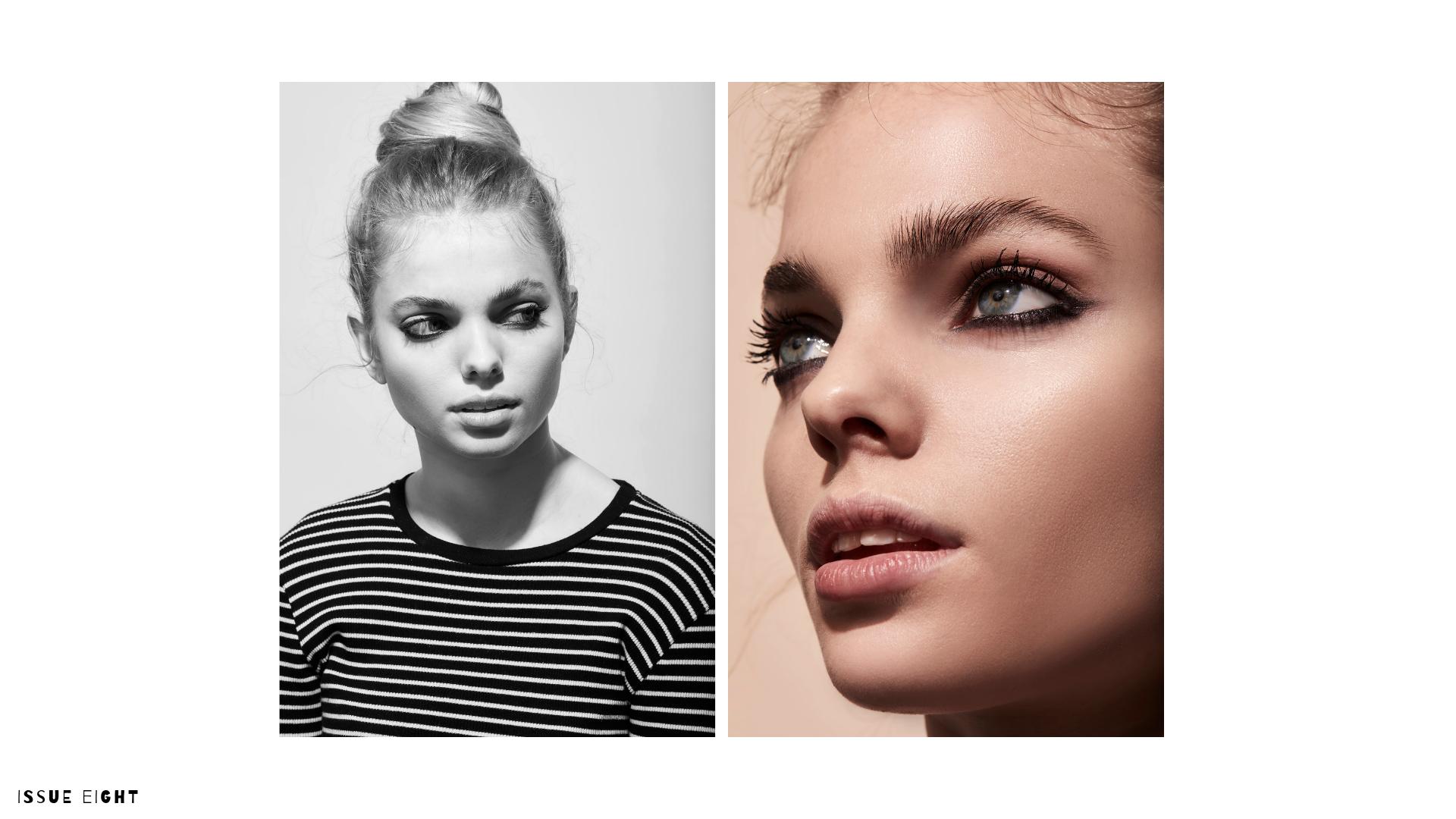 Grace wears  Sappho New Paradigm Eyeshadow in Chloe  and  Jillian Dempsey's Kôhl Eyeliner in Jet Black . Contour using  Sappho New Paradigm Sappho New Paradigm Pressed Powder in Caramel