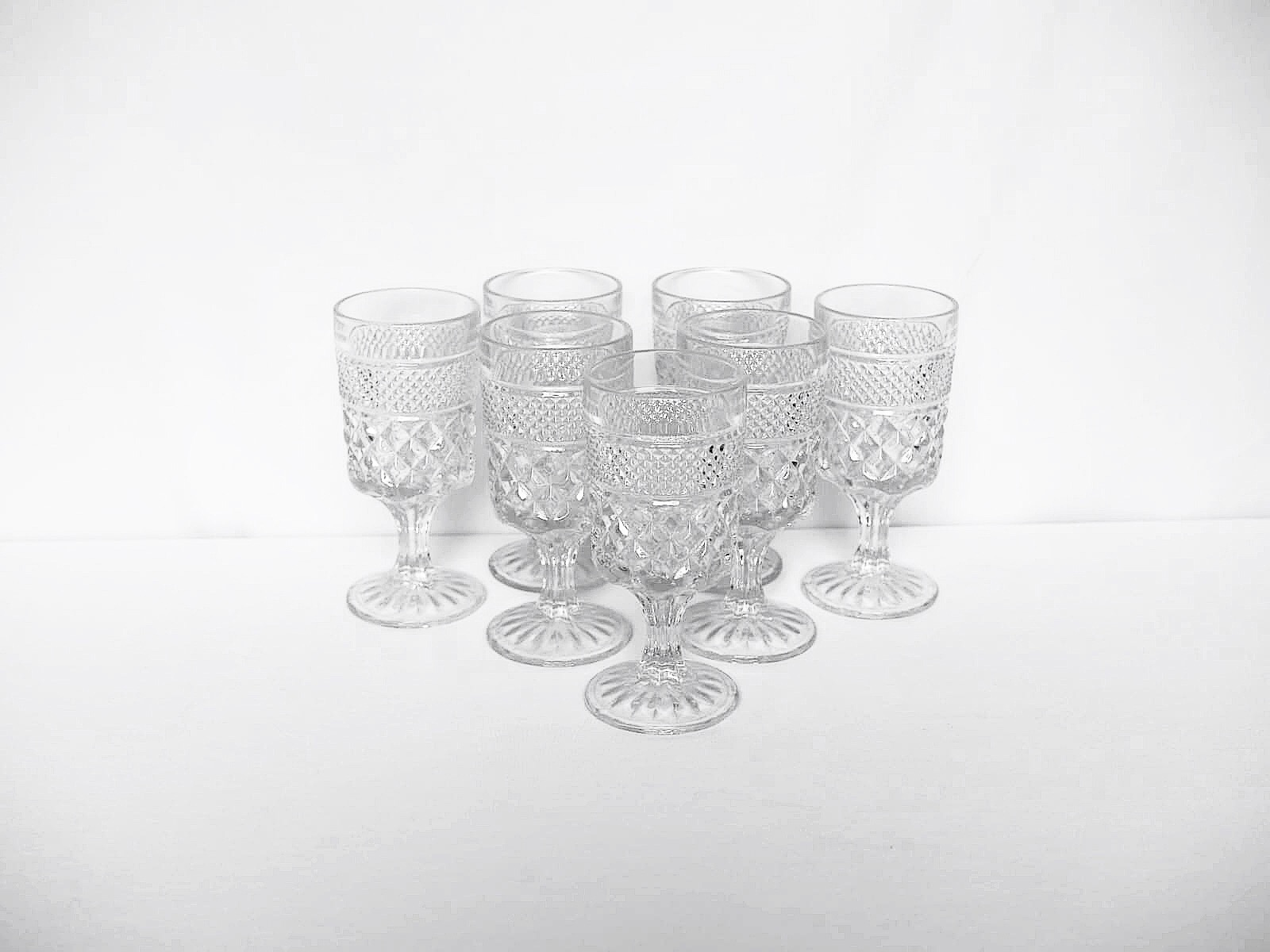pressed glass gobletsRENTAL PRICE PER: $4.00 - 32 available in total*