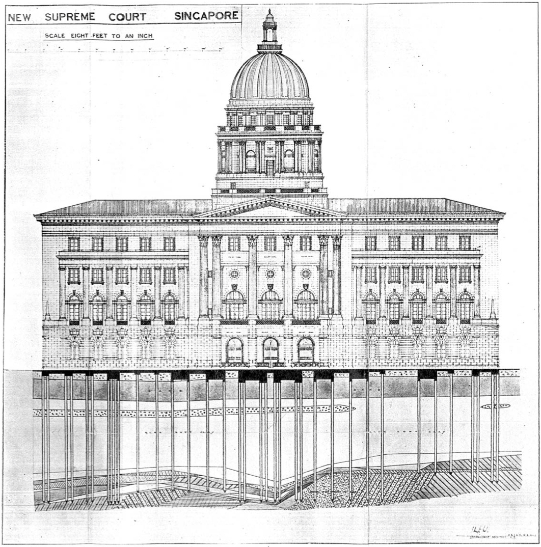 Drawing of the former Singapore Supreme Court in neoclassical garb but supported by an intricate system of reinforced concrete foundation beams and piles (Image  ©   Annual Report of Public Works Department, Straits Settlement, 1936).