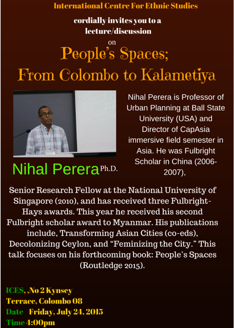 People's spaces: from Colombo to kalametiya by Nihau Perera Poster (Image © ICES Events)